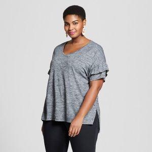 Ava & Viv ruffle detail short sleeve blouse